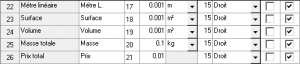 Configuration de liste - Tableau des totaux